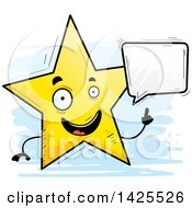 Clipart Of A Cartoon Doodled Talking Star Character Royalty Free Vector Illustration by Cory Thoman
