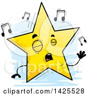 Clipart Of A Cartoon Doodled Singing Star Character Royalty Free Vector Illustration