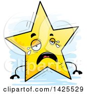 Clipart Of A Cartoon Doodled Crying Star Character Royalty Free Vector Illustration by Cory Thoman