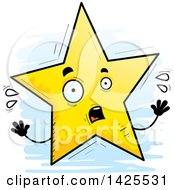 Clipart Of A Cartoon Doodled Scared Star Character Royalty Free Vector Illustration