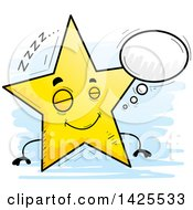 Clipart Of A Cartoon Doodled Dreaming Star Character Royalty Free Vector Illustration by Cory Thoman