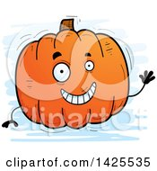 Clipart Of A Cartoon Doodled Waving Pumpkin Character Royalty Free Vector Illustration
