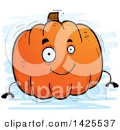 Clipart Of A Cartoon Doodled Pumpkin Character Royalty Free Vector Illustration