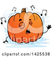 Clipart Of A Cartoon Doodled Singing Pumpkin Character Royalty Free Vector Illustration