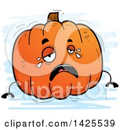 Clipart Of A Cartoon Doodled Crying Pumpkin Character Royalty Free Vector Illustration