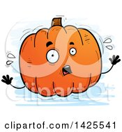 Clipart Of A Cartoon Doodled Scared Pumpkin Character Royalty Free Vector Illustration