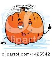 Clipart Of A Cartoon Doodled Drunk Pumpkin Character Royalty Free Vector Illustration