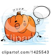 Clipart Of A Cartoon Doodled Dreaming Pumpkin Character Royalty Free Vector Illustration by Cory Thoman