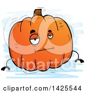 Clipart Of A Cartoon Doodled Bored Pumpkin Character Royalty Free Vector Illustration