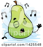 Clipart Of A Cartoon Doodled Singing Pear Character Royalty Free Vector Illustration
