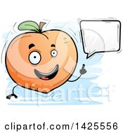 Clipart Of A Cartoon Doodled Talking Peach Character Royalty Free Vector Illustration