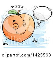 Clipart Of A Cartoon Doodled Dreaming Peach Character Royalty Free Vector Illustration by Cory Thoman