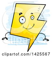 Clipart Of A Cartoon Doodled Lightning Character Royalty Free Vector Illustration