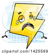 Clipart Of A Cartoon Doodled Crying Lightning Character Royalty Free Vector Illustration by Cory Thoman