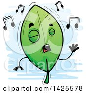 Clipart Of A Cartoon Doodled Singing Leaf Character Royalty Free Vector Illustration