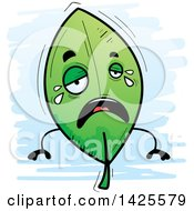 Clipart Of A Cartoon Doodled Crying Leaf Character Royalty Free Vector Illustration by Cory Thoman