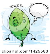 Clipart Of A Cartoon Doodled Dreaming Leaf Character Royalty Free Vector Illustration by Cory Thoman