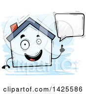 Clipart Of A Cartoon Doodled Talking Home Character Royalty Free Vector Illustration by Cory Thoman