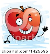 Cartoon Doodled Waving Apple Character