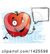 Clipart Of A Cartoon Doodled Talking Apple Character Royalty Free Vector Illustration by Cory Thoman