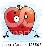 Clipart Of A Cartoon Doodled Apple Character Royalty Free Vector Illustration