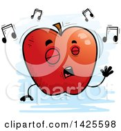 Clipart Of A Cartoon Doodled Singing Apple Character Royalty Free Vector Illustration by Cory Thoman