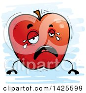 Clipart Of A Cartoon Doodled Crying Apple Character Royalty Free Vector Illustration by Cory Thoman