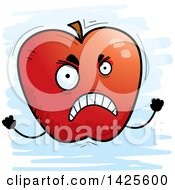 Clipart Of A Cartoon Doodled Mad Apple Character Royalty Free Vector Illustration by Cory Thoman