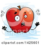 Clipart Of A Cartoon Doodled Scared Apple Character Royalty Free Vector Illustration by Cory Thoman