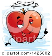 Clipart Of A Cartoon Doodled Drunk Apple Character Royalty Free Vector Illustration by Cory Thoman