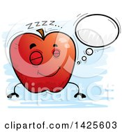 Clipart Of A Cartoon Doodled Dreaming Apple Character Royalty Free Vector Illustration by Cory Thoman