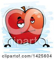 Cartoon Bored Doodled Apple Character