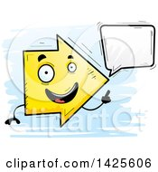 Clipart Of A Cartoon Doodled Talking Arrow Character Royalty Free Vector Illustration