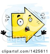 Clipart Of A Cartoon Doodled Scared Arrow Character Royalty Free Vector Illustration