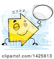 Clipart Of A Cartoon Doodled Dreaming Arrow Character Royalty Free Vector Illustration