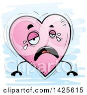 Cartoon Doodled Crying Heart Character