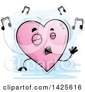 Clipart Of A Cartoon Doodled Singing Heart Character Royalty Free Vector Illustration by Cory Thoman