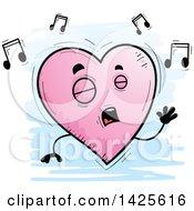 Cartoon Doodled Singing Heart Character