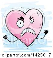 Cartoon Doodled Mad Heart Character