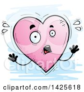 Cartoon Doodled Scared Heart Character