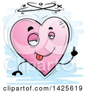 Clipart Of A Cartoon Doodled Drunk Heart Character Royalty Free Vector Illustration by Cory Thoman