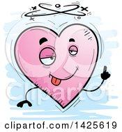 Cartoon Doodled Drunk Heart Character
