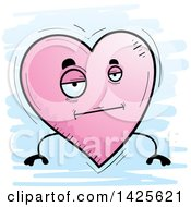 Clipart Of A Cartoon Doodled Bored Heart Character Royalty Free Vector Illustration by Cory Thoman
