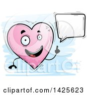 Clipart Of A Cartoon Doodled Talking Heart Character Royalty Free Vector Illustration by Cory Thoman