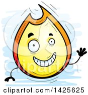 Clipart Of A Cartoon Doodled Waving Flame Character Royalty Free Vector Illustration