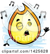 Cartoon Doodled Singing Flame Character