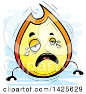 Clipart Of A Cartoon Doodled Crying Flame Character Royalty Free Vector Illustration