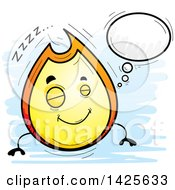 Clipart Of A Cartoon Doodled Dreaming Flame Character Royalty Free Vector Illustration