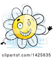 Clipart Of A Cartoon Doodled Waving Flower Character Royalty Free Vector Illustration