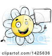 Clipart Of A Cartoon Doodled Talking Flower Character Royalty Free Vector Illustration